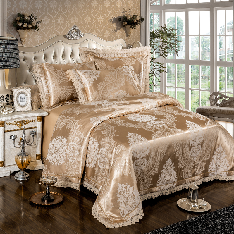 IvaRose 4-Pcs gold silver lace Jacquard Bed Cover Queen King Size  Luxury Bedding Set Silky Bedclothes Duvet Cover Bed Sheet setIvaRose 4-Pcs gold silver lace Jacquard Bed Cover Queen King Size  Luxury Bedding Set Silky Bedclothes Duvet Cover Bed Sheet set