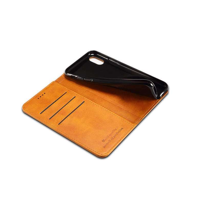 Newisdom Cas For iPhone xs max Flip Leather cover Phone Wallet Card Slots Cases iPhone X case XR 8 Plus 7 luxury bronw PU in Flip Cases from Cellphones Telecommunications