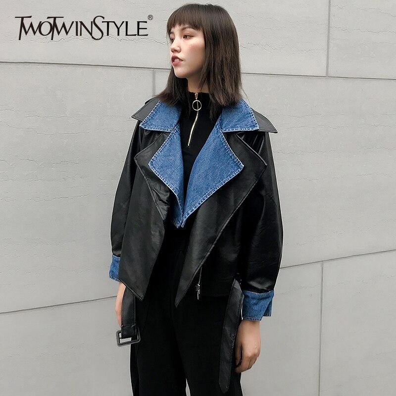 TWOTWINSTYLE PU Leather Women s Jacket Large Size Long Sleeve Lace Up Patchwork Denim Coats Female