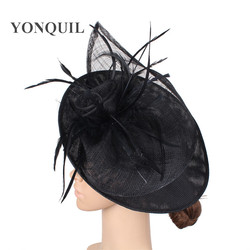 Big kenducky derby hat women fascinators chapeau party flower millinery caps women ladies female elegant feathers chapeau race