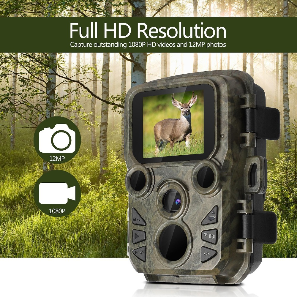 Mini Hunting Camera 12MP 1080P Wildlife Trail Photo Trap 0 45S Fast Trigger Waterproof Nihgt Vision