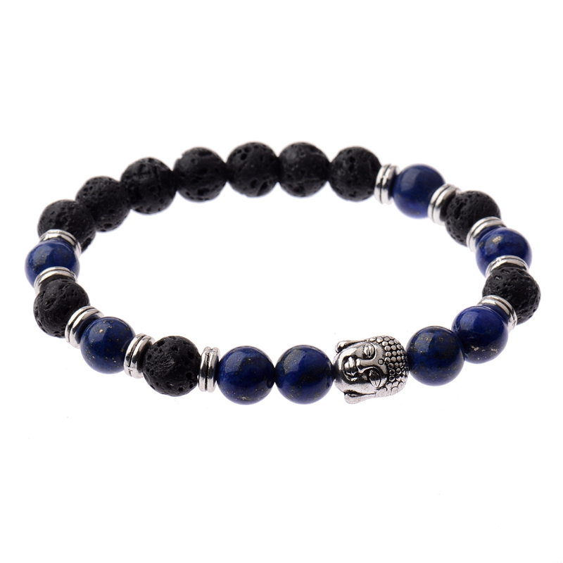DOUVEI Handmade Silver Buddha Natural Stone Budha Bracelets & Bangles Black Lava Beads Bracelets For Women Men Jewelry