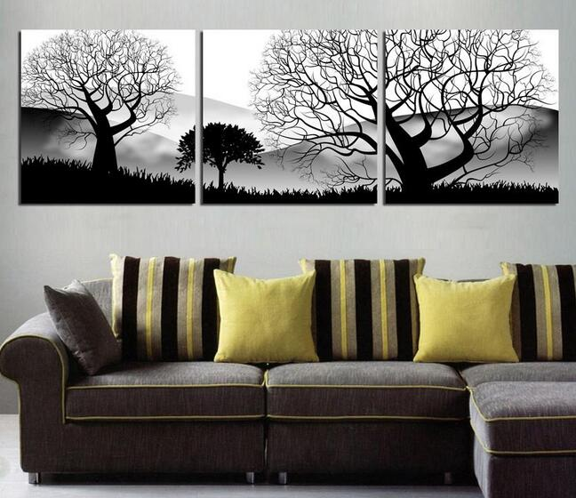 Oil painting 3 panels modern living room wall hanging art - Oil painting ideas for living room ...
