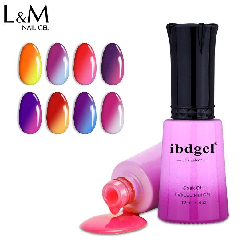 12 unids ibdgel Chameleon Cambio de temperatura Color UV LED gel Nail - Arte de uñas - foto 1