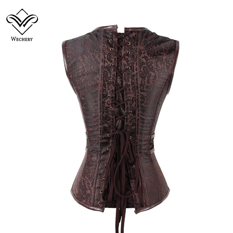 Wechery Brown Steampunk Corset Gothic Clothing Sexy Jacquard PU leather Steel Boned Zip Buckle Corsets And Bustiers
