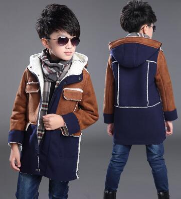 2017 Winter Children s Outwear boys Deerskin Fleece Coat Kids Thickening Winter Hooded Overcoat Child Wadded