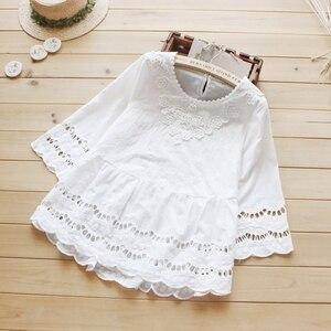Feminino doce casual oco para fora três quartos mangas compridas crochê rendas algodão branco feminino princesa tops camisa blusas mori menina u473