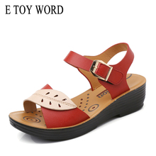 E TOY WORD Summer Genuine Leather Flat Sandals Women Buckle mother sandals Comfortable Soft Ladies Beach Shoes Zapatos Mujer soft beige metallic buckle flat sandals