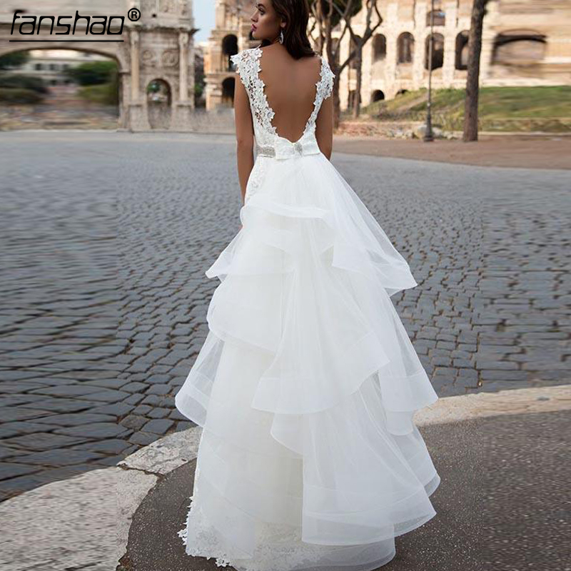 2019 Wedding Dresses  Lace Mermaid Detachable Ruffles Illusion Abito Da Sposa Dubai Arabic Boho Wedding Dress Bridal Dress
