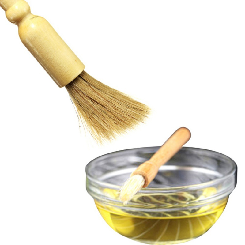 Useful Wood Bristles Barbecue Oil Brush Seasoning brush Pig Hair BBQ Cooking Flavouring Brush