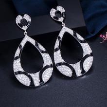 Bilincolor trendy korean fashion luxury cubic zirconia big dangling drop earrings for women gift