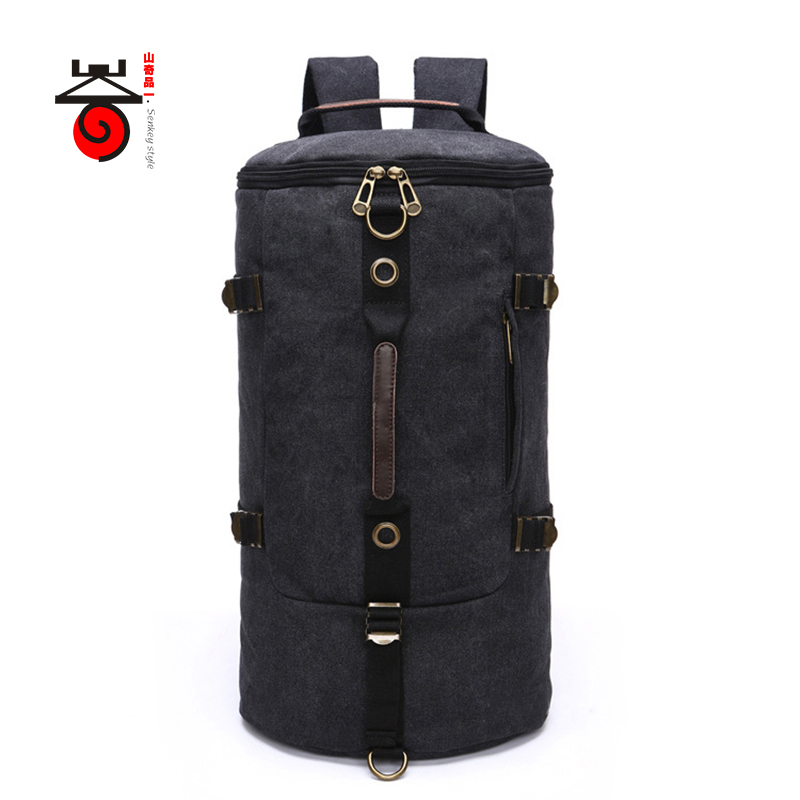 Senkey style 2017 New Arrival High Capacity Travel Canvas Bag Men Backpack Cylinder Canvas Rucksack Fashion
