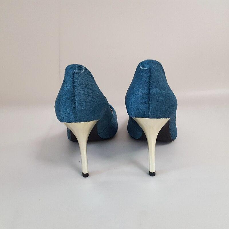 Malachite À Crin De L'intérieur 40 Haute Dame Peau Classiques Femmes Cheval 8 Talons Chaussures Pointu Mouton 8cm Bout Pompes Sanlume En 10cm Cm Vert 10 H7YnU0