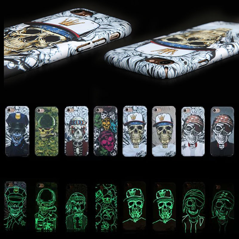 3D Cool Amazing Luminous Halloween Scary Skull Head Cases Cover for iPhone 5/5S SE 6 6S 6/6S Plus 7 7plus Bags Accessories