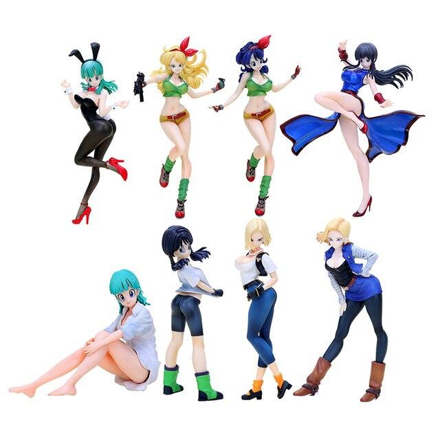 Dragon Ball Z Gals Lunchi Blue Hair And Blond Hair Bulma Chichi Videl Lazuli Pvc Figure