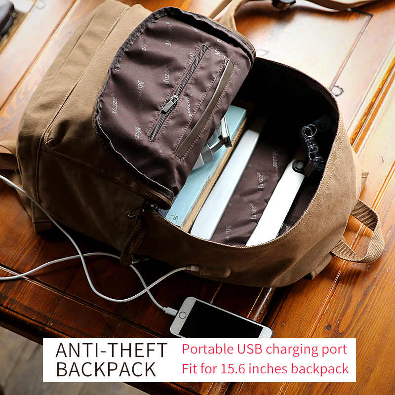 Muzee New Canvas Backpack Anti-theft College Students School Backpack USB Charging Design Bags for Teenager Travel Backpack