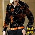 Изысканный цветочный узор мягкий шелк высокого класса бутик с длинным рукавом рубашки 2016 Осень и Зима золото бархат моды для мужчин рубашка М-XXXL
