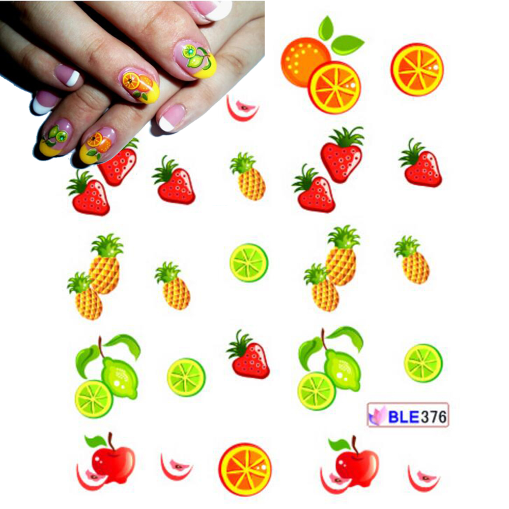 1 Sheet Cute DIY Tips Nail Art Nail Sticker Water Transfer Decals Strawberry Pineapple Orange Pattern Styling Stickers SABLE376 стоимость