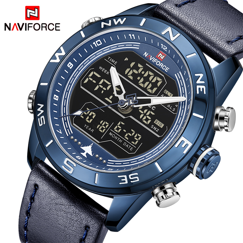 2018 New Men Watches NAVIFORCE Top Luxury Brand Men's Fashion Sport Watch Male Leather Quartz Analog LED Clock Relogio Masculino naviforce new luxury men led quartz watch men s fashion military sport watches male date digital analog clock relogio masculino