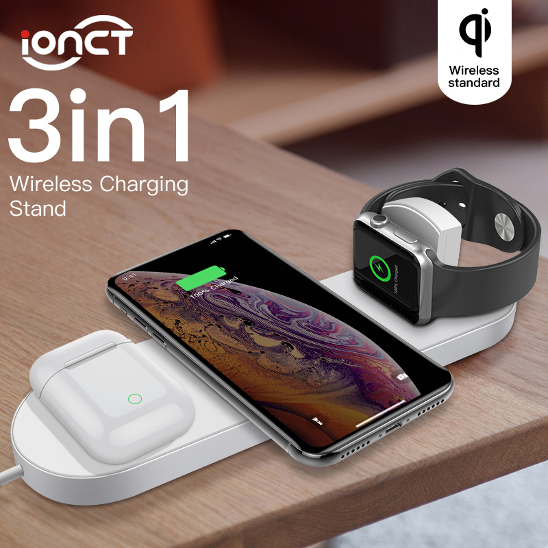 3 in 1 Qi Wireless Charger For iPhone X Xs Max XR Xiaomi Fast Wirless Charging Born for Apple Watch 1 2 3 4 AirPods charger dock|Wireless Chargers| |  - title=
