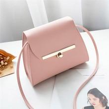 Simple Flap Shoulder PU Leather Bags Women Girls Pure Color Mini Messenger Chest