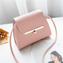 Simple Flap Shoulder PU Leather Bags Women Girls Pure Color