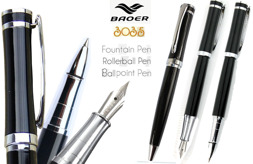 Set 3 of  Fountain pen  Roller Ball and Ballpoint pens Black BAOER 3035 signature pens wholesale 3pens/lot  Free  Shipping parker 88 maroon lacquer gt fine point fountain pen
