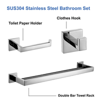 Mirror Polished SUS 304 Stainless Steel Bathroom Accessories Set Robe Hook Towel Bar And Toilet Paper Holder Clothes