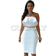 Cuerly Sexy Elegant Strapless Bodycon Party Club Dresses Women Two Piece Dress Sleeveless Crop Top & Midi DressSuit 2 set