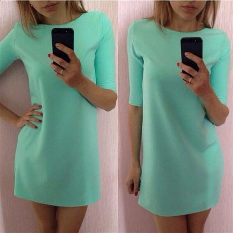 Durable 2017 summer dress nuevas mujeres dress señora menta verde media manga fl