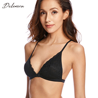 Women S Front Close Removable Pads Floral Lace Back Triangle Bra