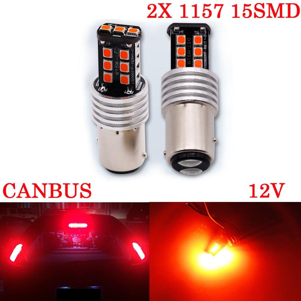 Donghen 2X 12V BAY15D 1157 15 LED P21/5W Brake Lights Tail Stop Warning Light High power Reverse External lamps Reverse Bulb