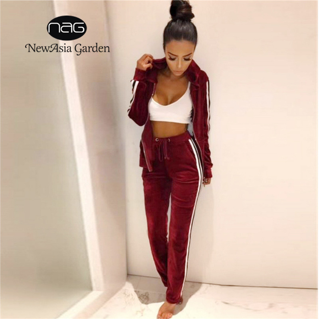 NewAsia Garden 2017 NEW fashion Velvet Tracksuit Two Piece Set Women Sexy Long Sleeve Hooded Top And Pants Casual women Suit
