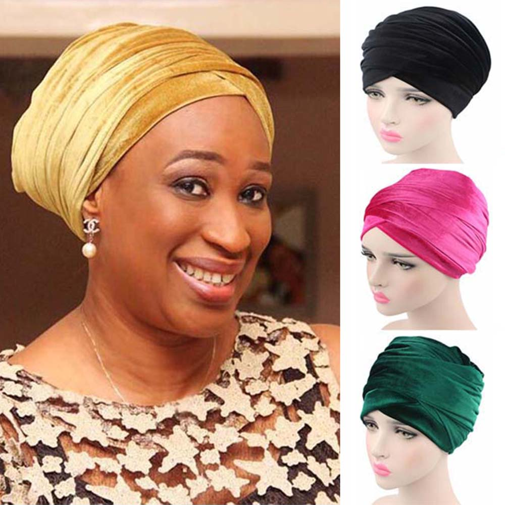 Nouveau Mode Femmes Velours Turban Bandeau Wrap Hijab Extra Long Tube De Velours Wrap Écharpe Turbante