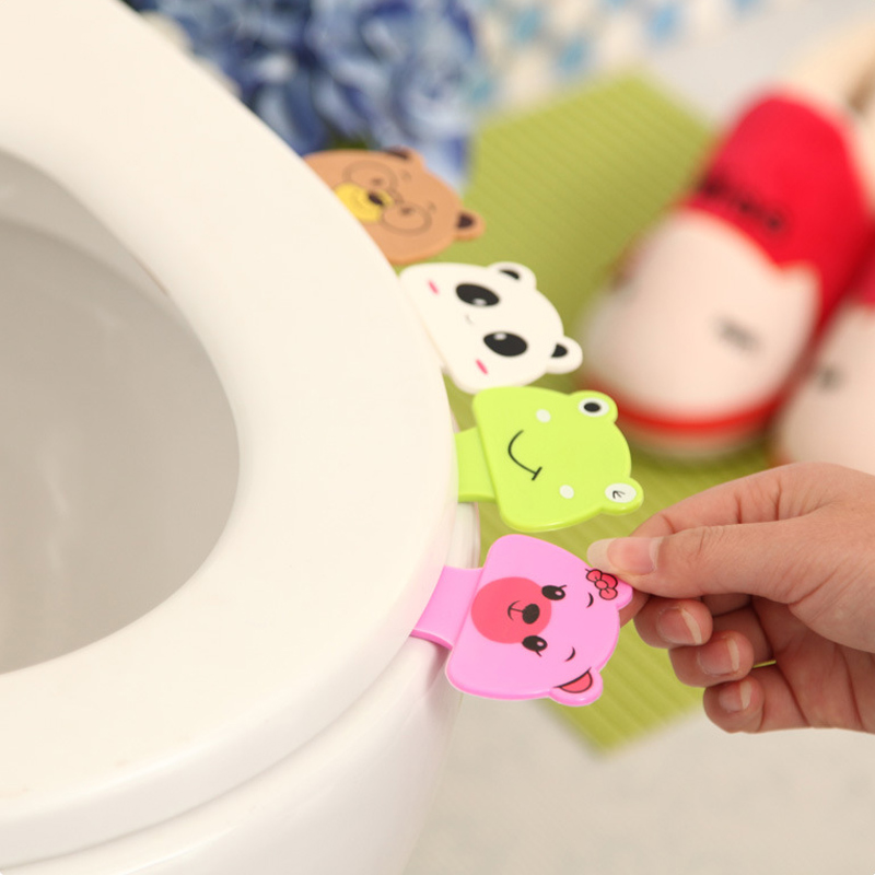 Accessories:  Bathroom Products 3Pcs Cute Cartoon Toilet Lifting Lid Device Seat Cover Handle Accessories Portable Bathroom Products Sets - Martin's & Co