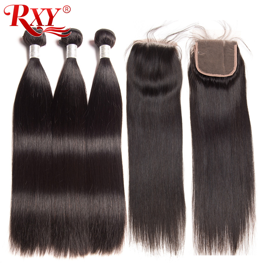 RXY Remy Straight Bundles With Closure Human Hair 3 Bundles With Closure Brazilian Hair Weave Bundles