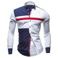 купить Brand New Spring Men Casual shirt Fashion Patchwork Long Sleeve Mens Shirts Slim Fit Dress Shirt Camisa Men Clothes M-XXL по цене 655.22 рублей