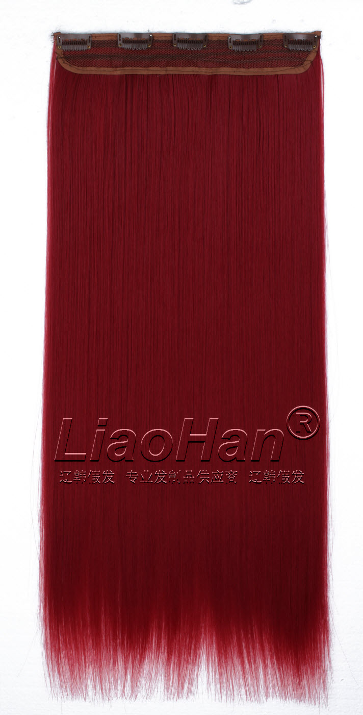 One Piece Clip In Dark Red Hair Extensions Colored Synthetic Hair
