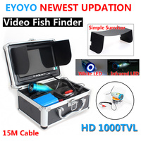 Brand Eyoyo Original 15M Fish Finder Underwater HD 1000TVL Fishing Video Camera 7 Color LCD White