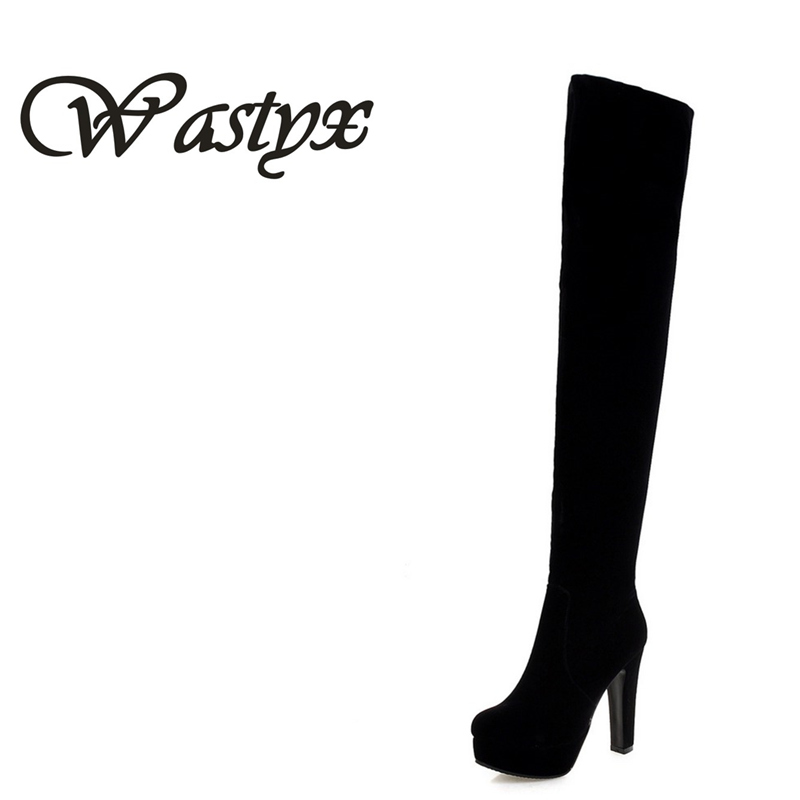 Wastyx 2017 New Women Suede Sexy Fashion Over the Knee Boots Sexy Thin High Heel Boots Platform Woman Shoes Black size 34-43 new 2014 flock suede high heel women boots brand over knee high heel boots for women fashion designer women shoes