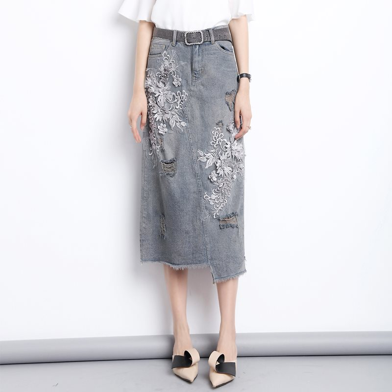 Femmes Denim jupes artisanat broderie perles taille haute Hip paquet
