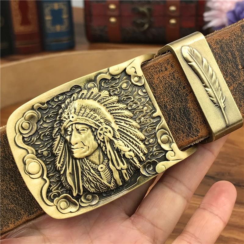 Chief Cowboy Brass Belt Buckle Leather Belt Men Jeans Retro Yellow Belts Men Leather Metal Wide Waist Belt Men Ceinture MBT0070