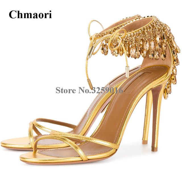 52cc9487776 Women Unique Bling Bling Gold Leather Rhinestone Strappy Sandals Crystal  Shoes High Heel Lace-up String Beaded Fringes Sandals