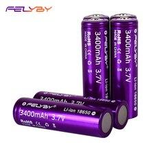 CALDO! FELYBY Nuovo Originale 18650 Batteria 3.7V 3400mAh 2 10pcs Ad Alta Capacità Batterie Ricaricabili Al Litio