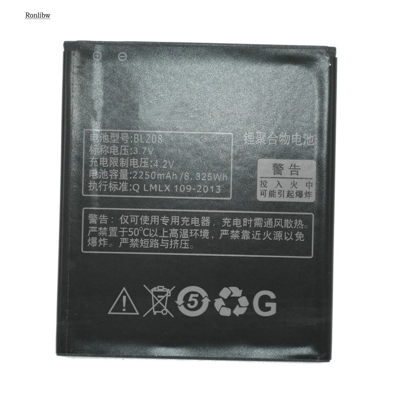 Ronlibw 3.7V 2250mAh BL208 Replacement For <font><b>Lenovo</b></font> S920 / <font><b>A616</b></font> / A690E / A5800-D Battery image