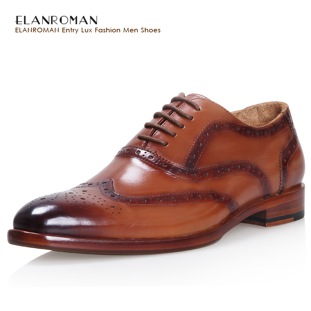 ELANROMAN Luxury Men Shoes Brand Handmade Men Brogue Dress Shoes Men Fashion Flats Male Genuine Leather Top Quality Brown Oxford top quality fashion formal mens dress shoes genuine leather black luxury wedding shoes men flats office for male oxford shoes