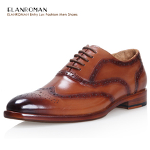 ELANROMAN Luxury Men Shoes Brand Handmade Men Brogue Dress Shoes Men Fashion Flats Male Genuine Leather Top Quality Brown Oxford