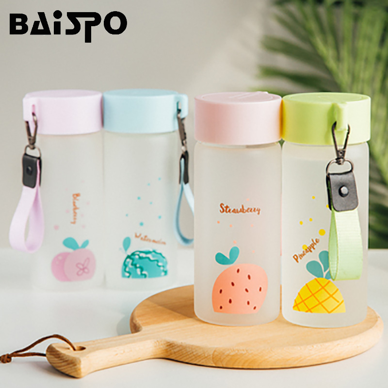 BAISPO Creative Cute Frosted Glass Sport Water Bottle With Rope Portable Outdoor Bike Frosted Fruit Drinking Bottles For Travel-in Water Bottles from Home & Garden on AliExpress