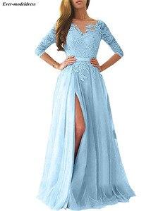 Image 5 - Robe de demoiselle dhonneur rose Sexy, coupe trapèze, dos nu, manches longues, longueur au sol, robe dinvités de mariage, robe de soirée de bal, 2020