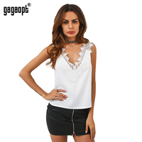 Gagaopt 2017 Summer Tanks Women Sexy V Neck Carved Flowers Neck Ladies Casual Fashion Solid Tops